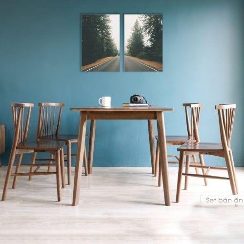 Bộ bàn ăn Ristar Nâu 4 ghế