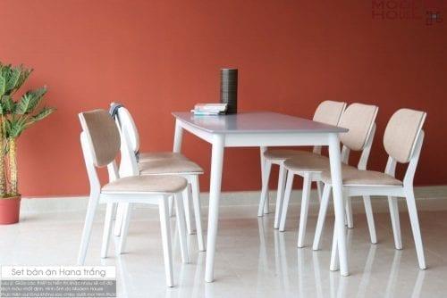 Bộ bàn ăn Hana trắng 6 ghế