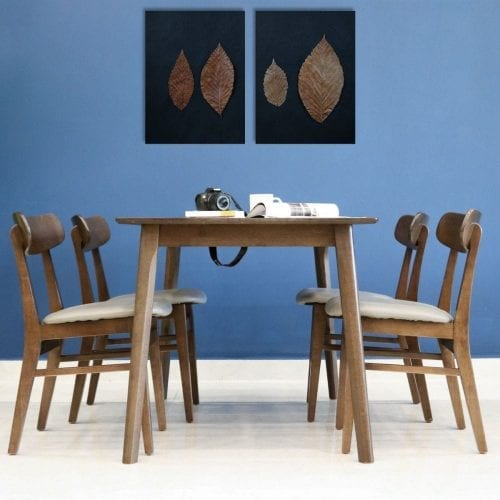 Bộ bàn ăn Marible Wanut 4 ghế