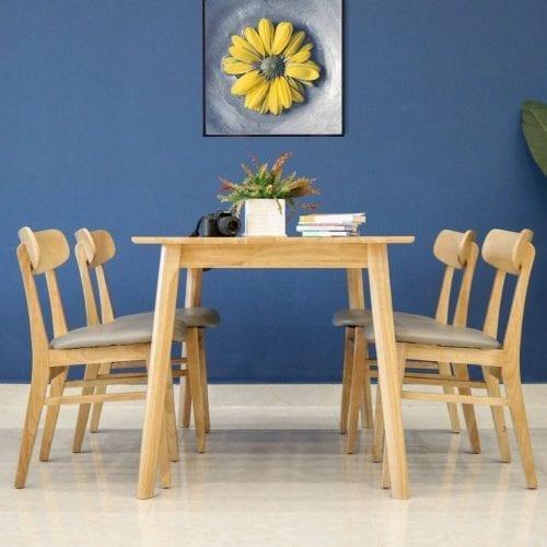 Bộ bàn ăn Marible Tự nhiên 4 ghế