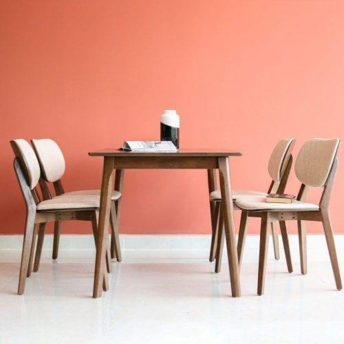 Bộ bàn ăn Hana nâu 4 ghế