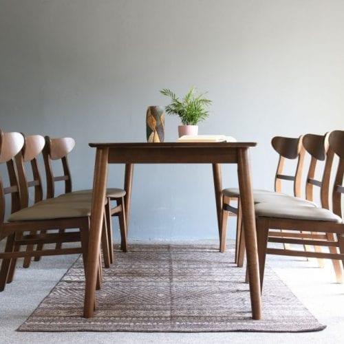 Bộ bàn ăn Mango walnut 6 ghế