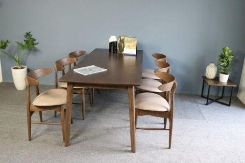 Bộ bàn ăn Lunar vải nâu 6 ghế