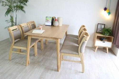 Bộ bàn ăn Ashley tự nhiên 6 ghế