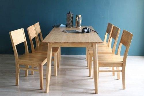 Bộ bàn ăn Cherry tự nhiên 6 ghế