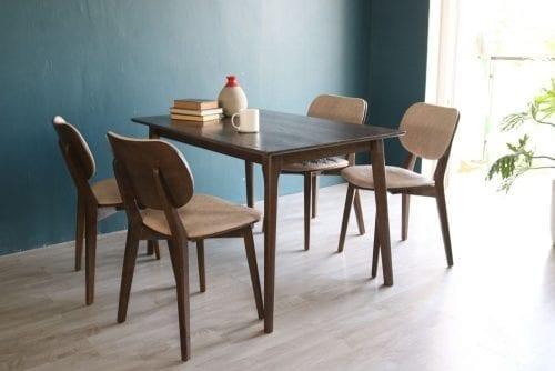 Bộ bàn ăn Hana walnut 4 ghế