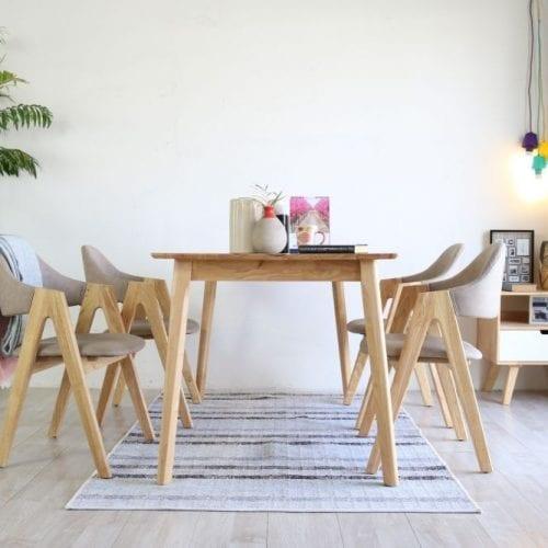 Bộ bàn ăn Emma tự nhiên 4 ghế