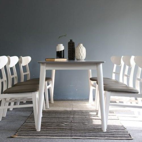 Bộ bàn ăn Mango trắng 6 ghế